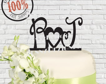 Initials and Open Heart Wedding Cake Topper #CTI001 made in USA