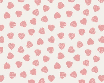 Lewis & Irene Patchwork Quilting Fabric Dove House A168.1 - Pink hearts on light cream