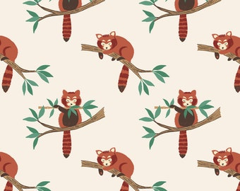 Minshan A118-1 Red Panda on natural Lewis & Irene Patchwork Quilting Fabric