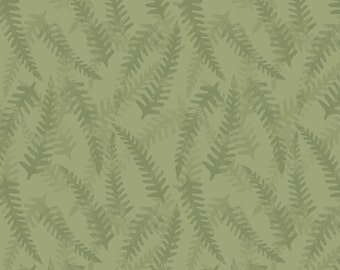 Lewis & Irene Patchwork Quilting Fabric Bluebell Wood A130.2 Khaki fern
