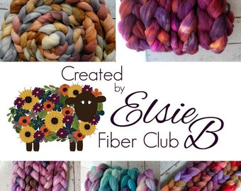 3 MONTH **100% Wool** Fiber Club Subscription, 4 oz hand dyed roving, Created by ElsieB spinning fiber, wool roving, fiber of the month