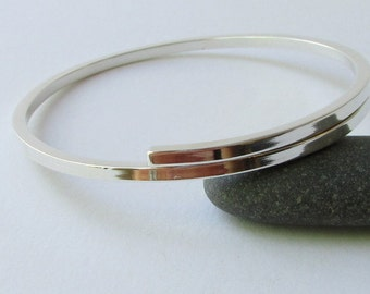 Sterling Silver Bracelet. Silver bangle bracelet. Maine jewelry. Modern Silver Jewelry. Hammered silver. Bangle bracelet. Silver Bracelet