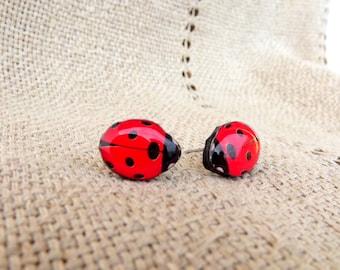 Ladybird earrings, Stud earrings, Red ladybird, Little ladybug stud, Ladybug, Insect, Bug, Red bug, Red earrings, Red jewelry, Tiny earrings