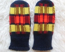 Vintage 1970's Colorful Knit Winter Mittens