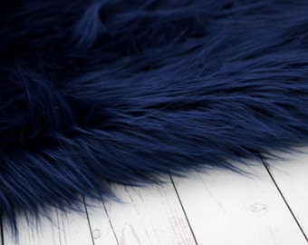 LARGE SIZE 3'x5' Soft Cuddly  Navy Blue Boy Faux Fur Nest Newborn Photography Large Oversize Layer Stuffer Long Pile Faux Flokati