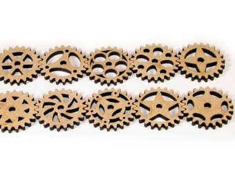 Laser Cut Unfinished Wood Steampunk Gear Shapes Craft Suppies