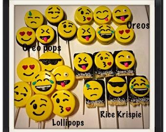 Emoji Themed Chocolate Covered oreos or rice krispie treat pops