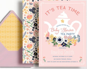 Baby Shower Tea Party Invitation Sprinkle Floral Flowers Pink Tea Pot Folk Peach Yellow Tea Time Invite Printable Girl