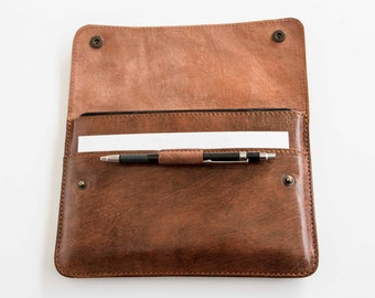 Leather slim iPad Mini case / sleeve in cognac, handmade cover