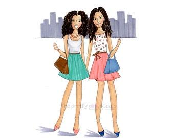 Fashionista drawing - Best friend illustration, Wall art of girls, Fashion print, Fashion posters, Fashion inspired art,Wall decor for girls