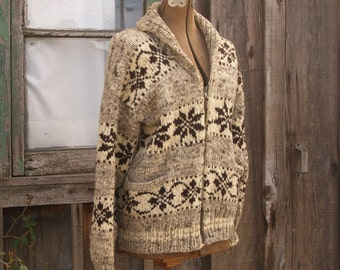1950's Vintage Fair isle Ski Sweater// Natural Undyed Wool//Metal Zipper//Heavy