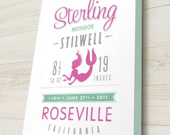 Personalized Birth Announcement, Custom Canvas Art with Baby Name and Mermaid, You pick your colors