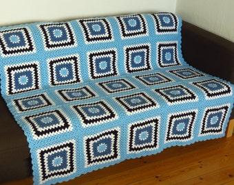 Blue Crochet Throw Blue Crochet Blanket Blue Granny Squares Blanket Blue Granny Blanket