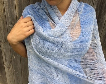 Linen Scarf Knit Shawl Natural Summer Wrap multicolored blue Women Accessory summer accessories, women's scarf linen scarf