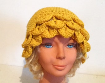 Crocheted Hat Womens Hat Slouchy Beanie Hat dragon scale hat Crochet yellow  winter hat Crochet Hat Womens Hat slouchy Hat yellow  women hat