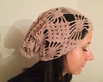 summer slouchy hat, brown  slouchy hat, Crocheted Summer Hat, slouchy Hat, sun hat, women hat crochet hat  Womens Hat valentine's