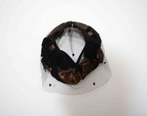 1950's Fascinator  Black Lace and Black velvet bows and Brown Satin Bows