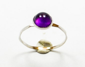 White Gold Amethyst Knuckle Ring