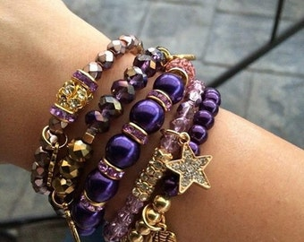 Purple beaded Stretch stackable bracelets