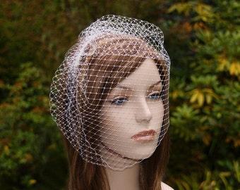 Birdcage Veil, Full Face Bird Cage Veil, Bridal Veil, Blusher Veil, 12 Inch Veil, White, Ivory, Black