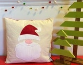 Santa Claus Pillow | Cotton Canvas & Felt Pillow Case | Christmas and Holiday Decor | Santa's Beard and Hat
