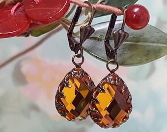 Orange Teardrop Earrings, Crystal Teardrop, Rhinestone Earrings, Large Teardrop Crystals, Orange Bridesmaids, Topaz Earrings, E3900