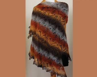 Hand knit triangular lace Kauni wool shawl