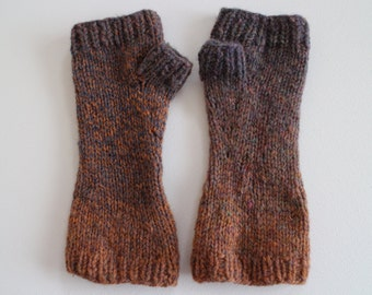 Hand knit wool fingerless gloves