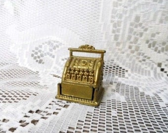 Tiny Metal Cash Register- General Store- Mercantile Miniature Old Time Register-Vintage Mini Store Register-Drawer Opens-Dollhouse Furniture
