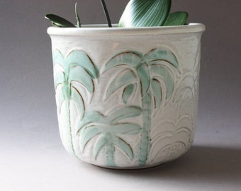 Large planter ceramic, flowerpot, flower pot, German pottery, vintage 80s 90s, white green palm trees, gift her wife women sister