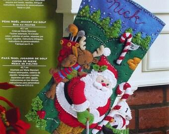 "Bucilla "" Golfing Santa ~ 18"" Felt Christmas Stocking Kit   #86145 Penguin, Golf DIY"