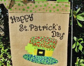 St. Patrick's Day Garden Flag- Saint Patrick's Day Burlap Flag- Luck Of The Irish Flag- Leprechaun Hat - Spring Garden Flags-Shamrock