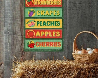 Farm Stand Fruits Apples Cherries Grapes Metal Sign - #40063