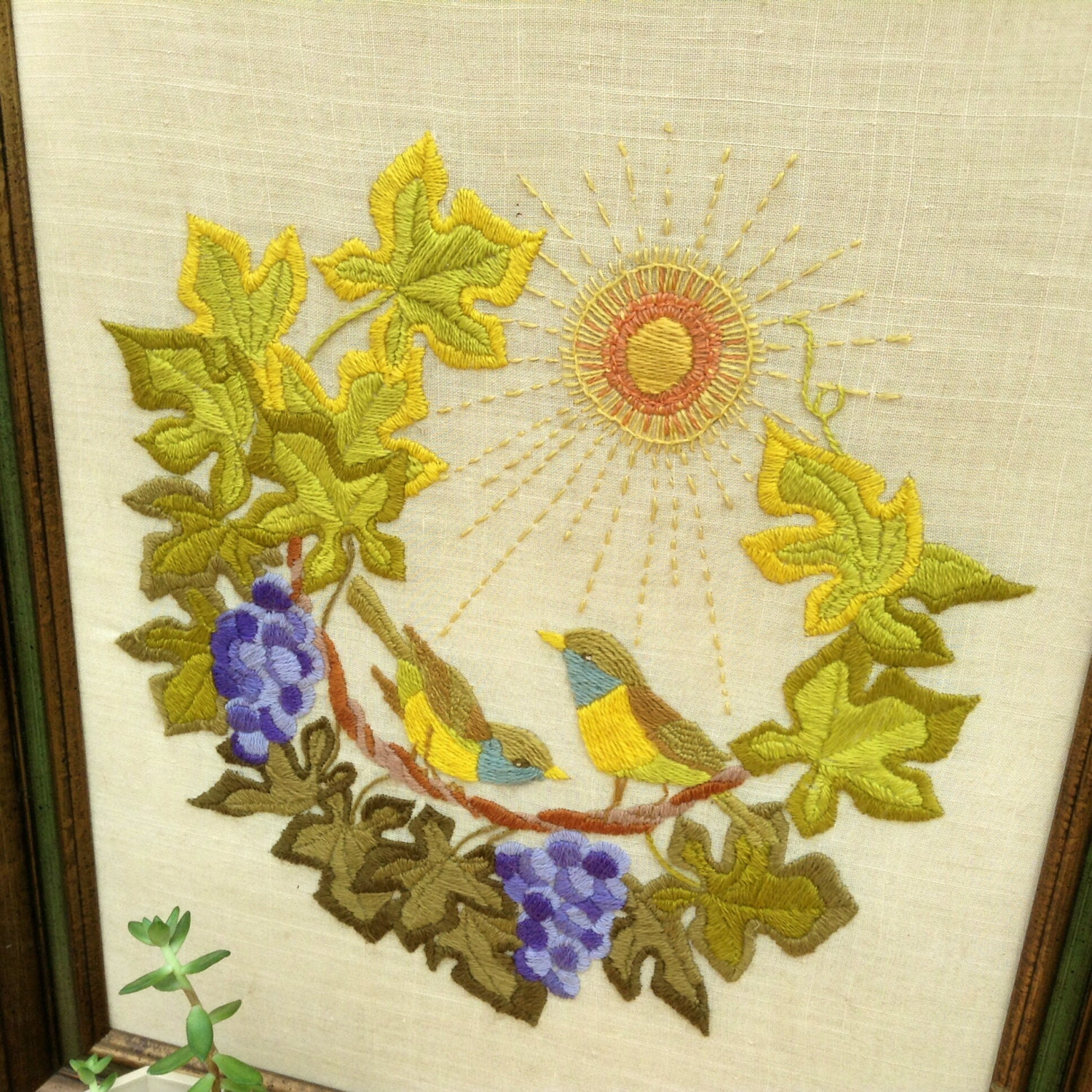 Natured Inspired Wood Framed Vintage Stitched Embroidered Wall ...
