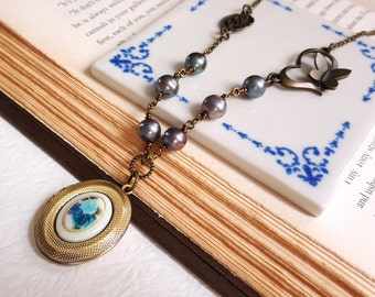 Antique inspired necklace Brass chain Blue flower locket Cameo Freshwater pearl necklace