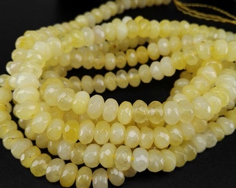 Full Strand 6x4mm 90pcs Yellow Agate Faceted Rondelle Beads Agate Gemstone Beads