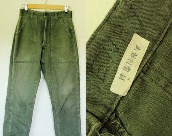 Vintage 70s Army Green Fatigue Drab Pants