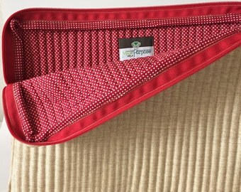 Hand Stitched: Laptop Case with a Cause (Red and Beige)