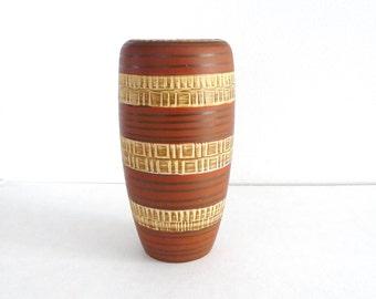 Vintage German Vase, West Germany, German Ceramics, 1950s, 1960s, Ceramic Vase, Vintage Vase, West German Stripe Vase, Mid Century, 166-20