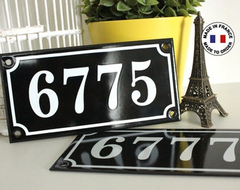 """French enamel house number sign 4"""" x 7.9"""" *Made to order*, genuine french enamel sign / address plaque / Vintage french decoration"""