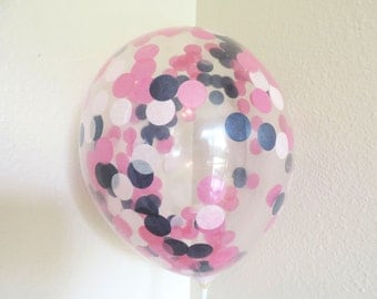 Pink and Blue Party, 8 Confetti Balloons, Pink and Navy Baby Shower, Pink and Blue Birthday Party, Pink Balloons, Baby Shower Balloons