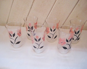 Pink floral drinking glasses, vintage set of glasses, set of six, 10 ounce glasses, hand painted