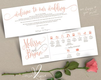 Printable Wedding Timeline card design (t0208), Wedding Itineraries, to insert in Welcome Bags