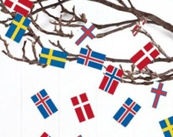 Scandinavian Flag Party Garland - Finland Iceland Denmark or Assorted Scandinavian