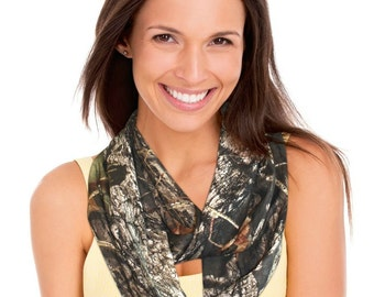 """Mossy Oak Camo Infinity Scarf Circle Loop Scarf 33x11"""" Dress Polyester Stretch Fabric Officially Licensed Made in the USA Camo Chique"""