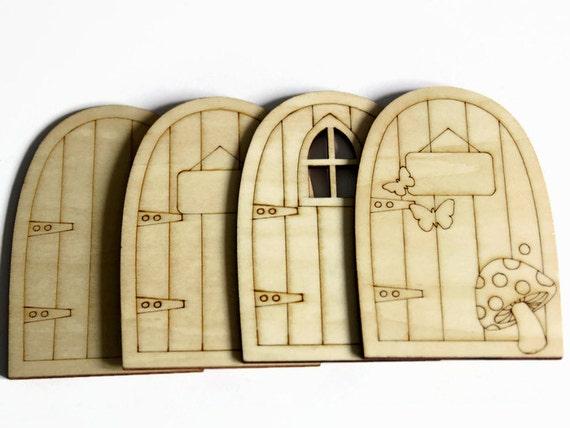Wooden fairy door laser cut door elf door hobbit for Fairy door shapes