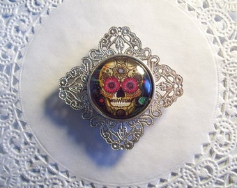 Sugar Skull Magnet (563) - Skull Refrigerator Magnet - Day of the Dead Magnet - recycled jewelry