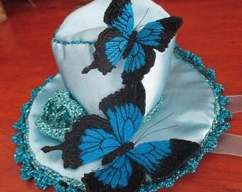 Butterflies hat, mini top hat, fascinator.