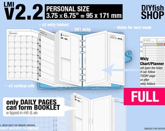 Full [PERSONAL v2.2 w DS1 do2p] January to December 2018 - Filofax Inserts Refills Printable Binder Planner Midori.