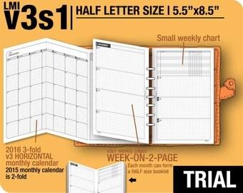 Trial [HALF size v3s1 w/o daily] November to December 2017 - Half Letter - Filofax Inserts Refills Printable Binder Planner Midori.